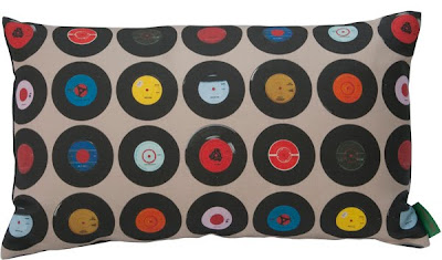 Vintage music style cushion made in UK by Ella Doran