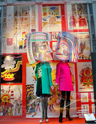 Pop Art and Retro type of window display