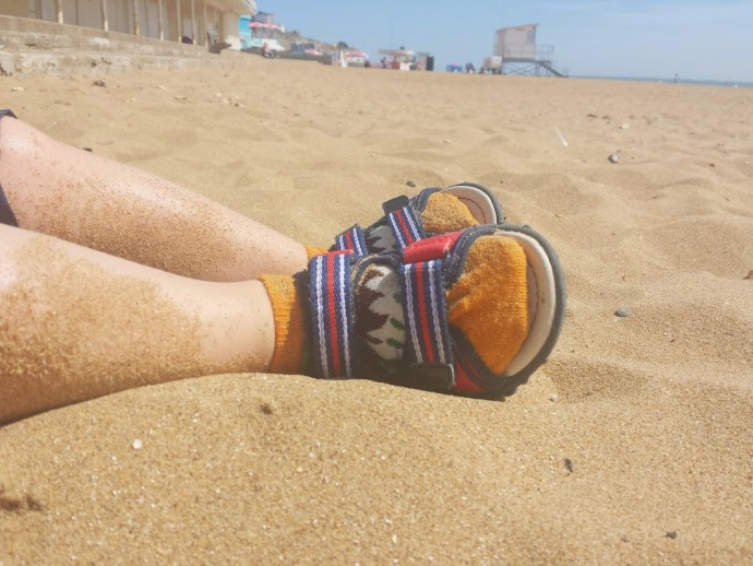 sandals and socks, toddlers at the beach, ramsgate beach