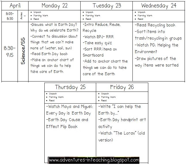 Here is a snapshot of my lesson plans: