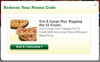 papa johns bogo 53 cents for a large pizza promo code