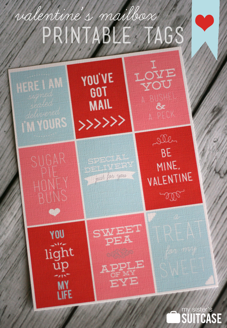 picture regarding Valentine's Day Tags Printable titled Printable Valentines Working day Tags - My Sisters Suitcase