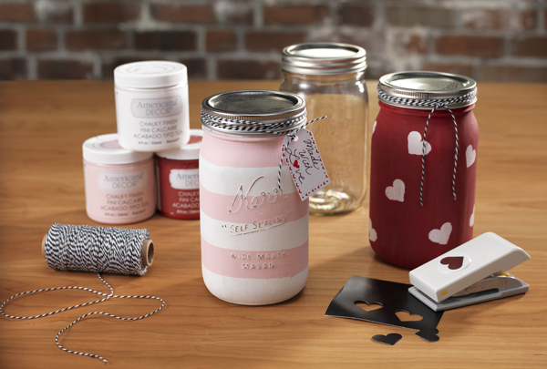 I heart Stenciled Canning Jars @craftsavvy @sarahowens #craftwarehouse #diy #masonjar #stencil