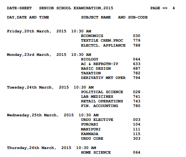 CBSE Timetable 2015 Class 12 page 7