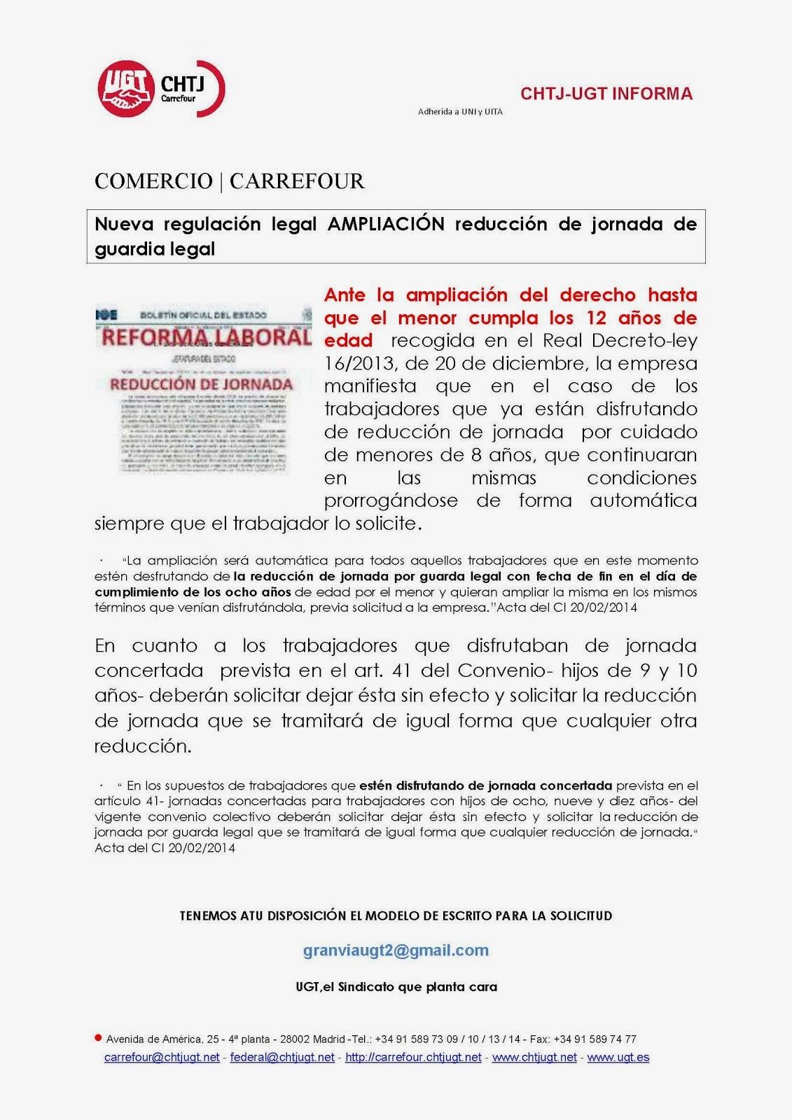 REDUCCIONES JORNADA EN cARREFOUR