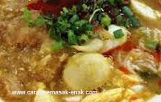 resep praktis (mudah) membuat (memasak) masakan khas myanmar mohinga spesial enak, gurih, lezat
