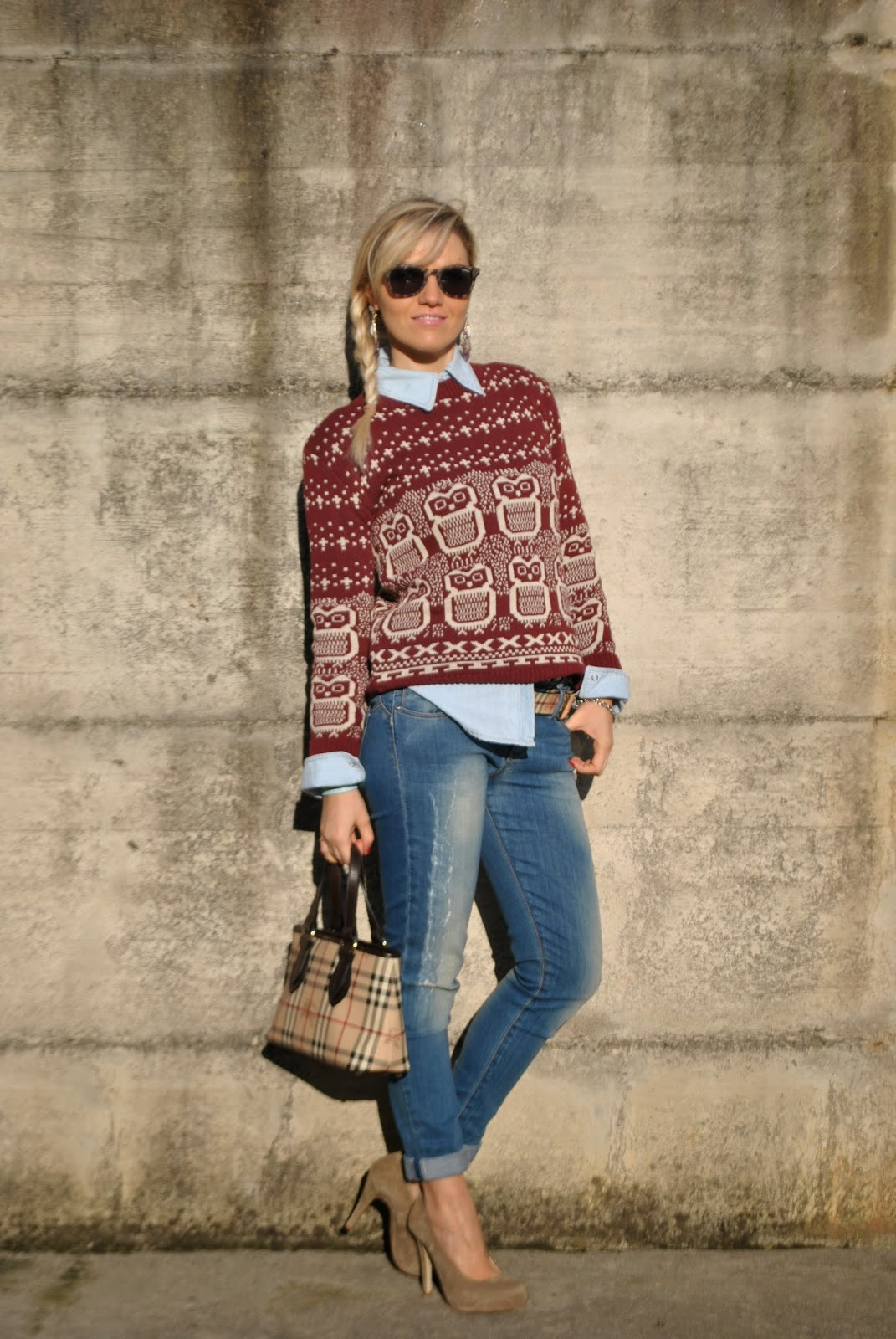 outfit maglione,camicia denim,jeans skinny,borsa burberry,cintura burberry,abbinamento jeans e tacchi,acconciatura treccia,mariafelicia magno fashion blogger,colorblock by felym,fashion blog italiani,outfit gennaio 2015 abbinare maglione e camicia,outfit burgundy, marsala outfit marsala come abbinare il marsala abbinamenti marsala  abbinare maglione e camicia,outfit burgundy outfit jeans outfit camicia e maglione outfit jeans skinny abbinamenti jeans skinny jeans e tacchi come abbinare jeans e tacchi come abbinare jeans e maglione maglione gufi outfit burgundy come abbinare il bordeaux outfit jeans casual outfit da ufficio con jeans borsa burberry cintura burberry acconciatura treccia laterale how to wear jeans to work jeans and heels sewater and shirt how to wear jeans and heels how to wear shirt and sweater fashion bloggers italy italian fashion bloggers italian girls girls blonde girls braids burberry belt burberry bag outfit burberry outfit borsa burberry outfit cintura burberry