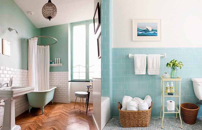 Azul e verde te lembram água? E banheiro tem o que?! ;-)