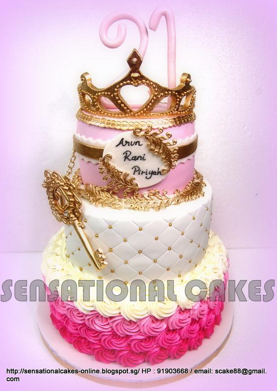 The Sensational Cakes 3 TIER PRINCESS PINK GOLDEN CAKE SINGAPORE