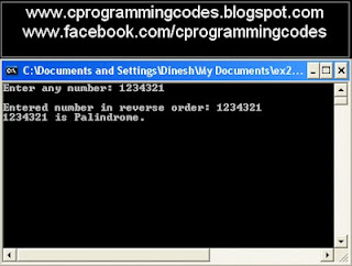 Output of reverse number and number is palindrome C program