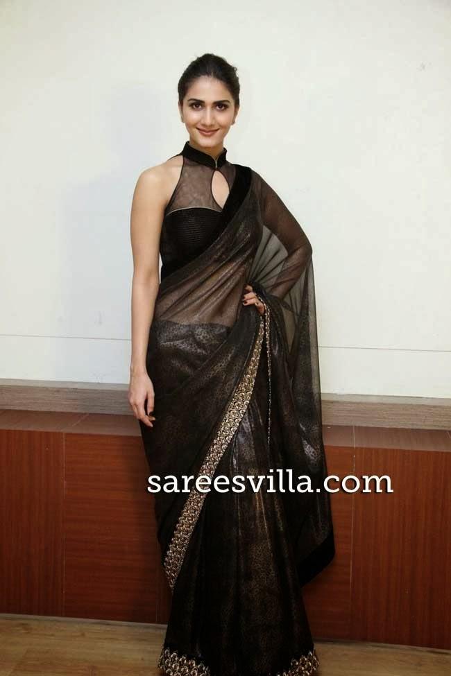 Vaani Kapoor In Black Transparent Saree