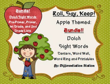 http://www.teacherspayteachers.com/Product/BUNDLE-Apple-Roll-Say-Keep-Dolch-Sight-Word-Center-Printables-Word-Wall-851341