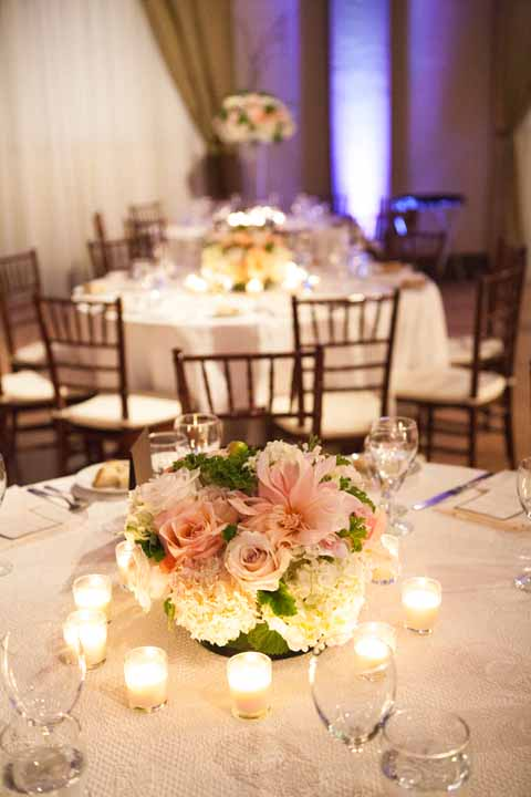 Cream and Coral Wedding Centerpieces