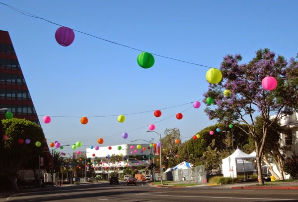West Hollywood colourful Pride paper lantern decorations