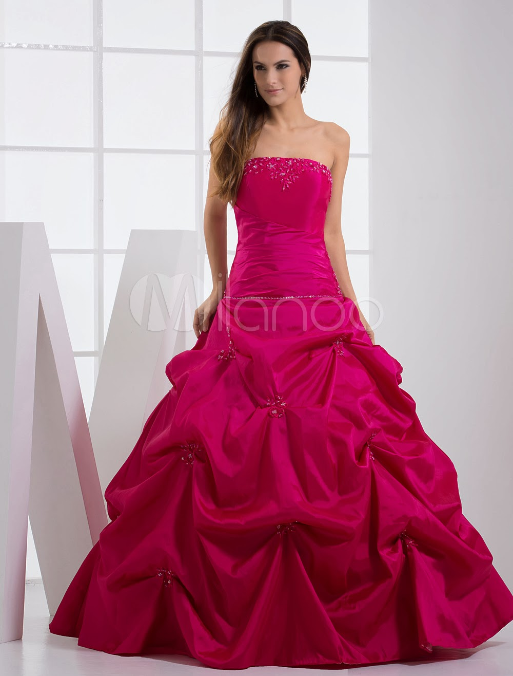 China Wholesale Dresses - Strapless Applique Beading Taffeta Ball Gown Dress
