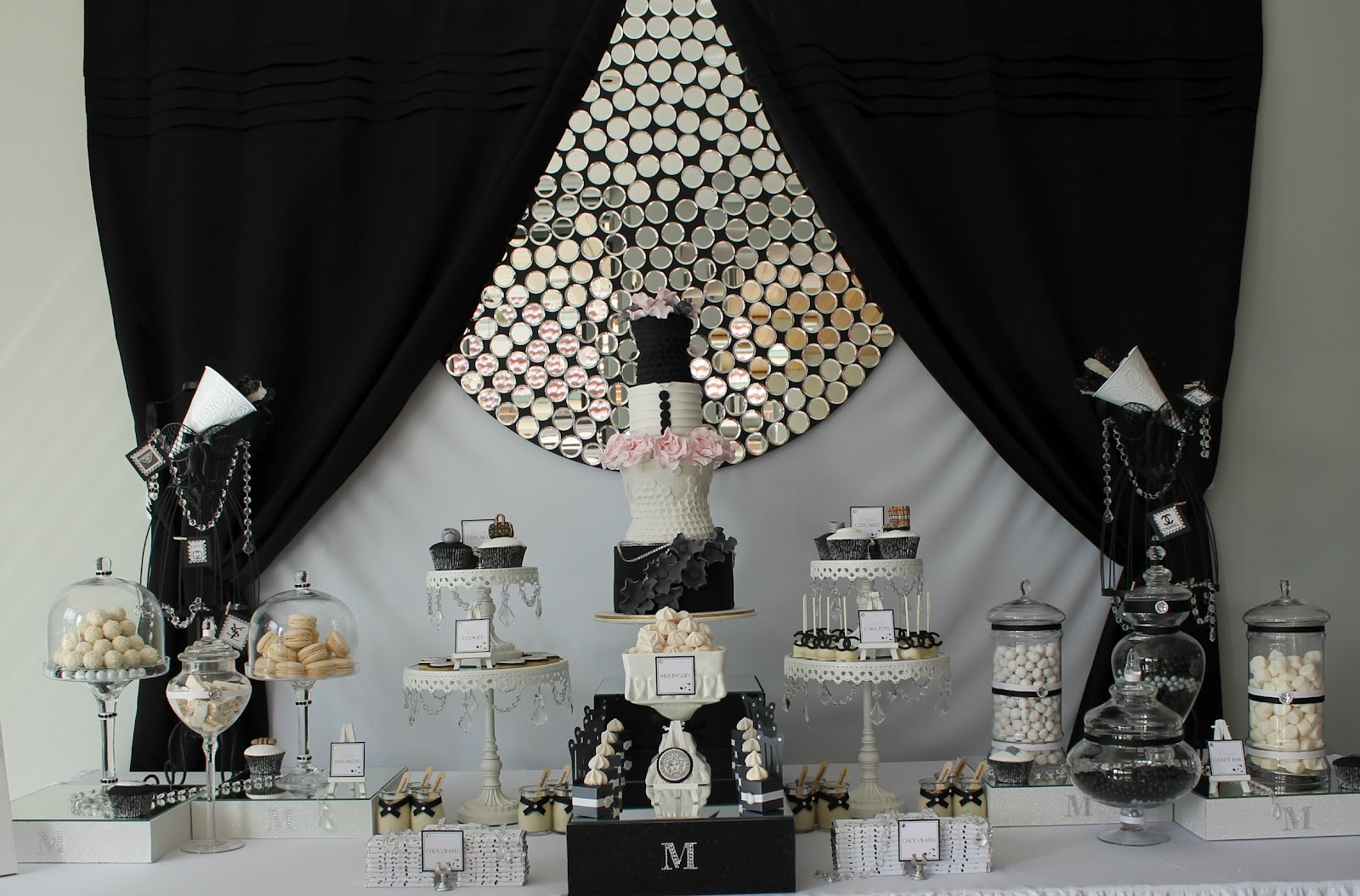 Events by nat runway catwalk black white dessert table - Black silver and white party decorations ...