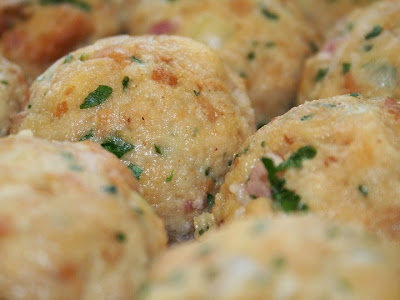 Bread dumplings Zucchini lentils  meatballs from pan Recipe in english