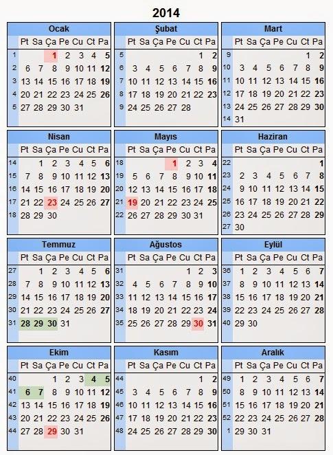21014 yılı takvim, resmi ve bayram tatilleri günleri