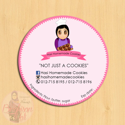 Tempahan design stiker dan doodle hasi homemade cookies