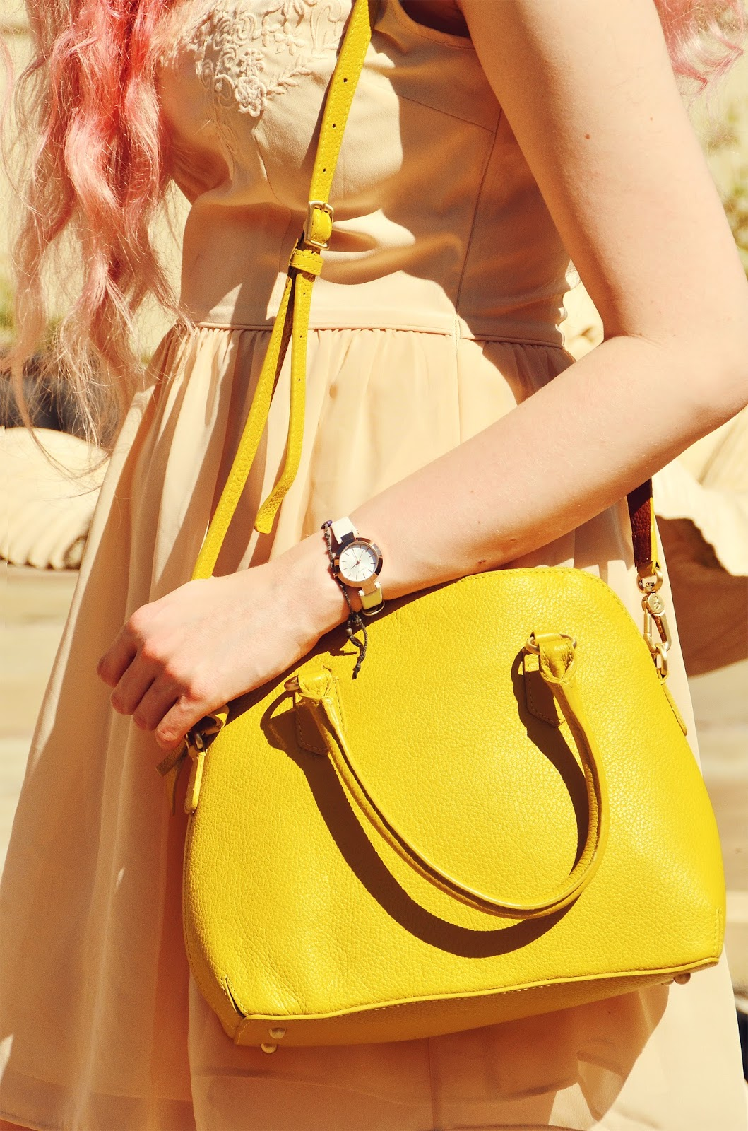 Stephi LaReine // Peach Floral Collar Summer Dress // Oasis (old) Sulphur Yellow Leather Bag * // Boden Clothing DKNY Watch * // House Of Watches