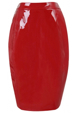 patent red leatherette skirt as seen on j-lo