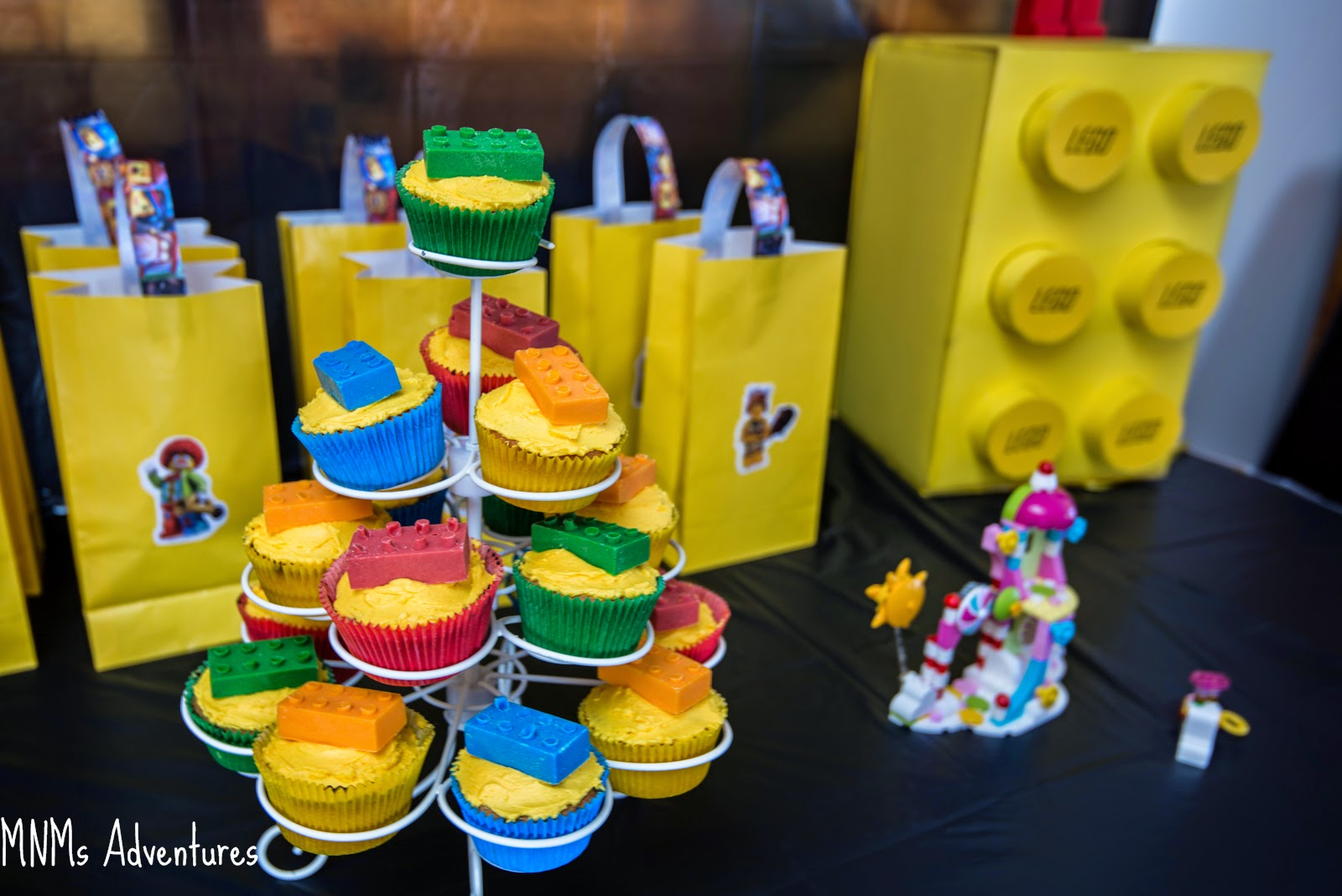LEGO movie party theme cupcakes and bricks