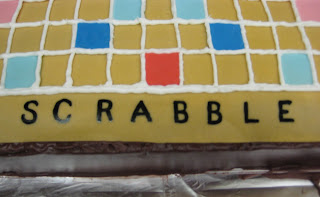 3D Scrabble Board Game Cake - Close-up of SCRABBLE on Side of Board