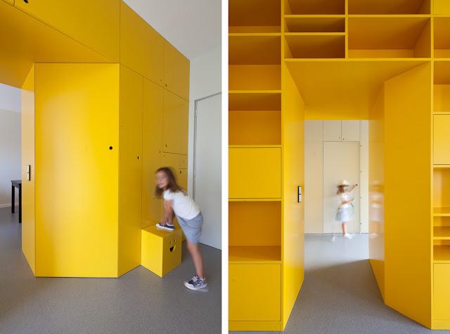 Estanter a a medida en color amarillo espacios en madera - Estanterias a medida ...
