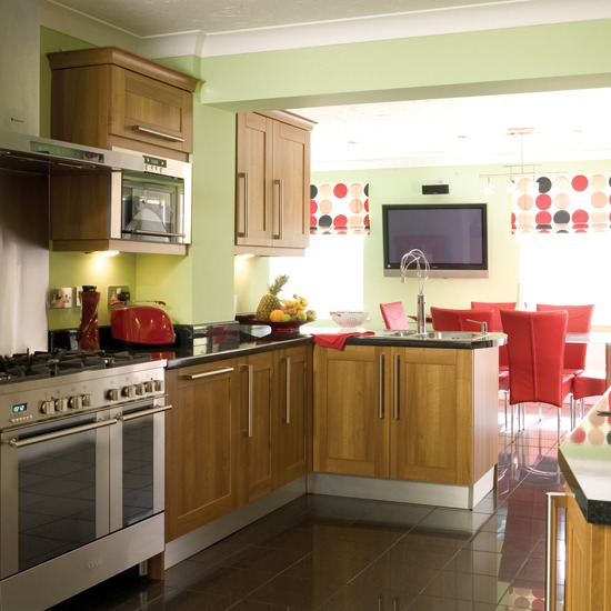 New home interior design kitchen extensions - White kitchen red accents ...
