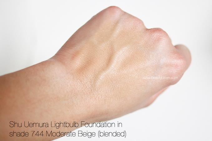 shu uemura, lightbulb foundation, swatch