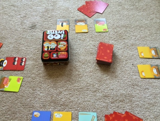 Sushi Go card game in play