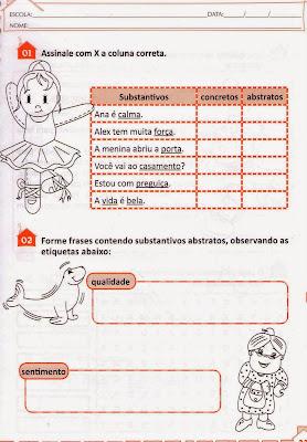 Substantivo abstrato e concreto exemplos