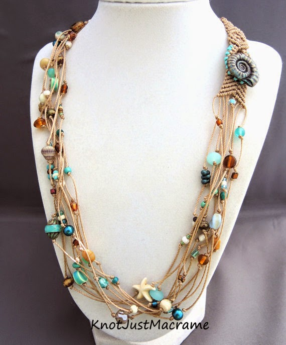 Multiple strand macrame necklace by Sherri Stokey of Knot Just Macrame.
