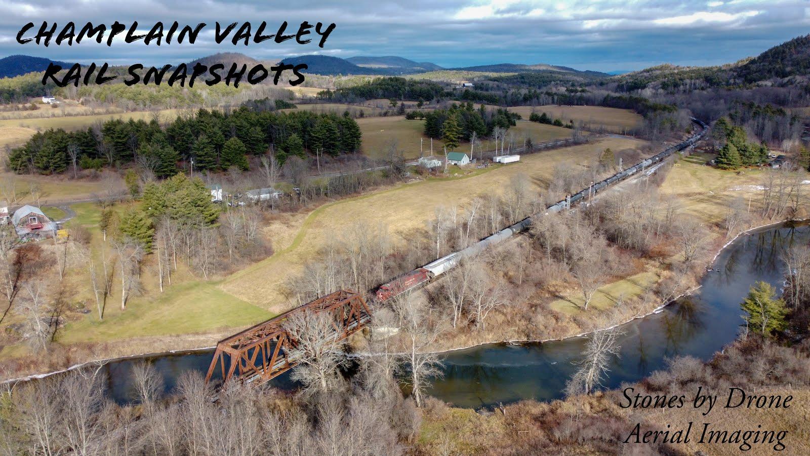 CP Train and drone over Adirondacks
