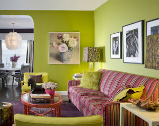 Home plan home interior design with green and red color - Red and green interior design ...