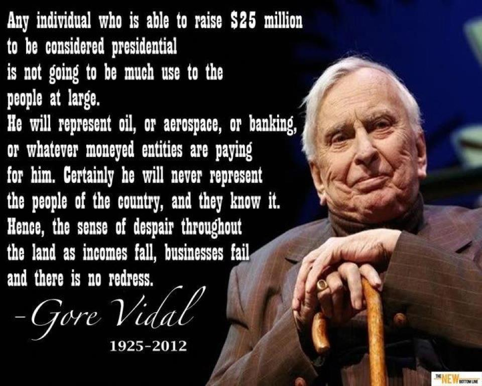 the reflections of gore vidal F buckley jr (founder of national review) and the liberal gore vidal in   political discussion and reduces tv figures into banal reflections of.