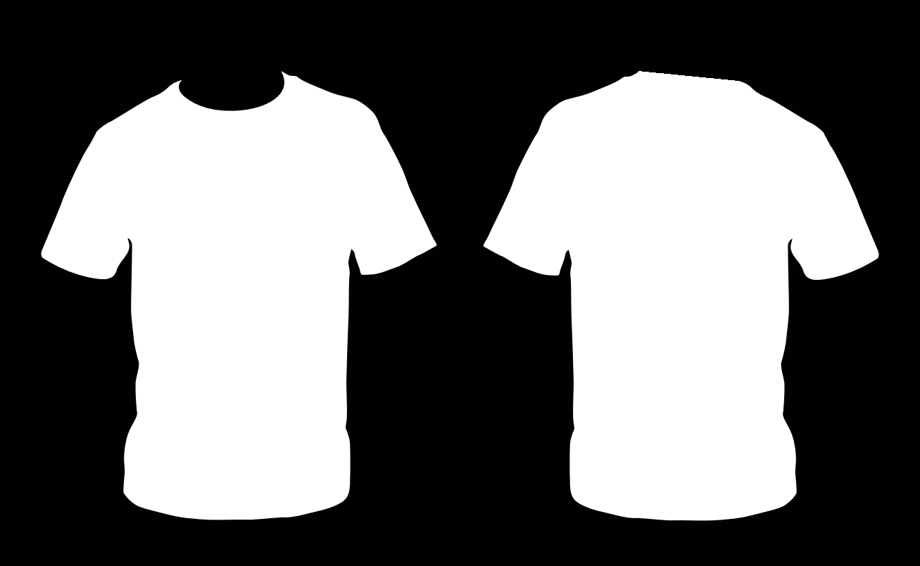 Black t shirt back and front - Template White Shirt With Black Collar T Shirt Outline Image Blank Front And Back Black