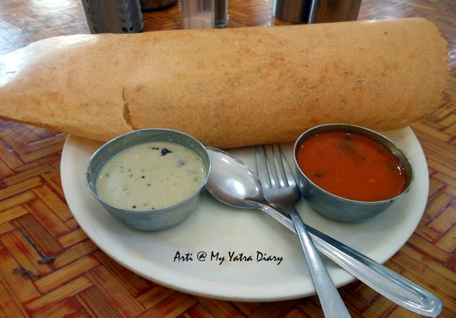 South Indian Masala Dosa in MTDC's Pure Vegetarian Restaurant in Shirdi - Neem
