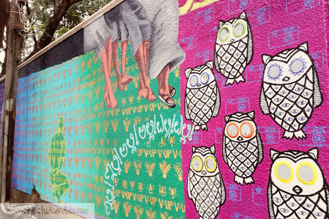 Owls and patterned Street art by Srishti School of Art, Design and Technology.