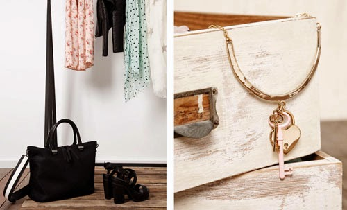 accesorios Stradivarius primavera verano 2014 sandalia tacón piso dentado bolso negro collar