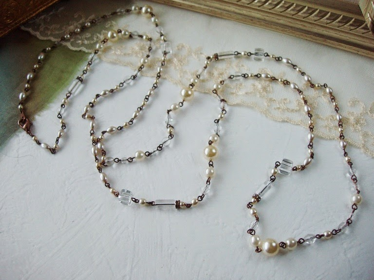 Flapper style 1920's jewelry crystal and pearl Great Gatsby