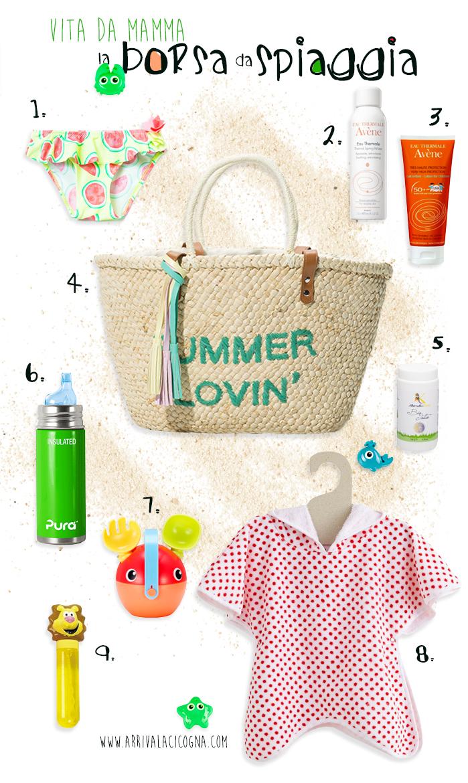 la mia borsa da spiaggia con bimbi al seguito