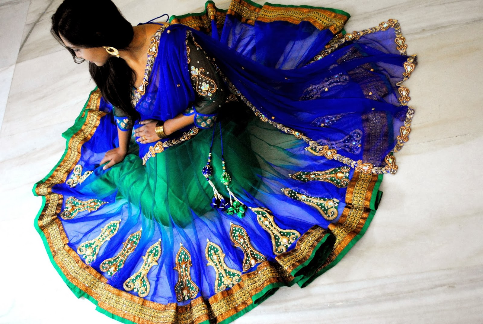 Indian Dresses Peacock Colour Half Saree With Swarovski