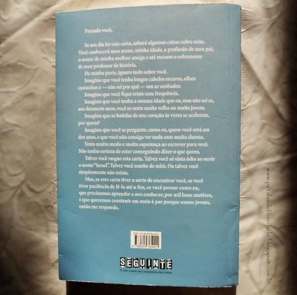 contracapa, Livro, Uma garrafa no Mar de Gaza, Valérie Zenatti, editora Seguinte, resenha, Tal Levine, carta