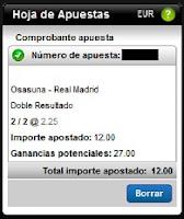 Apuestas Rosberg Fútbol – Liga BBVA España Osasuna-Real Madrid Titanbet