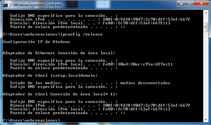 ipconfig release windows 7