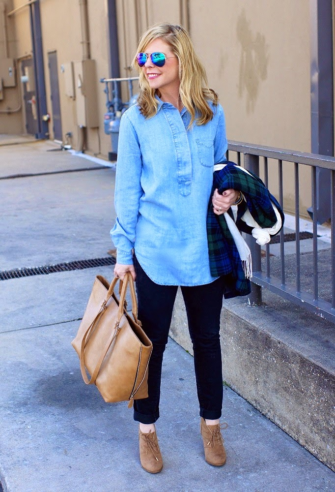 Loft Chambray Tunic Top