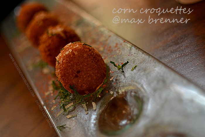Max Brenner Chocolate Bar Bald Man Brunch Breakfast Dinner Las Vegas Restaurants Travel Blog Mollys White Corn Croquettes Alice Cups Frappes