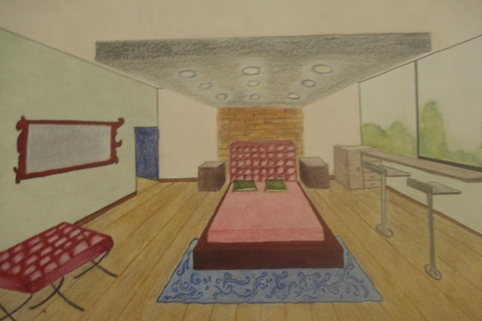 Dibujo perspectiva y color - Habitacion en perspectiva conica ...