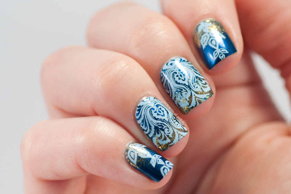 Blue damask nail art may contain traces of polish three different images and have not tried any other rectangular plates from them i think it performed very well with this detailed damask print prinsesfo Image collections